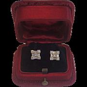 Diamond Earrings Set In 14K White Gold , ......Vintage Mid-Century Sparklers