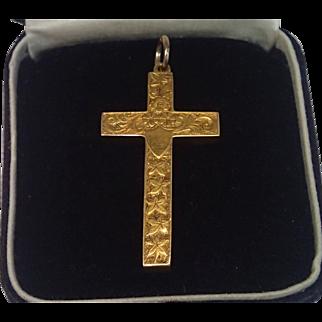 Cross Pendant W/ Ivy Motif , 15CT ,  English Circa 1910