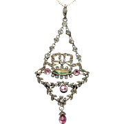 Paste & Silver Pendant, French Late 19th Century