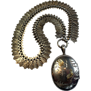 Antique Sterling  Locket & Collar , English, C. 1895