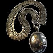 Antique Sterling  Locket & Collar