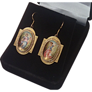Antique Earrings , Hand Painted Enamel Muses, With Seed Pearls In 18K  With 14K Wires