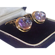 Antique Cufflinks, 14K & Amethyst Cabochons