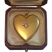 Antique 14K & Diamond Heart Locket, ...... American , Circa 1890