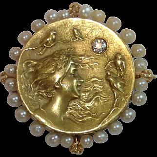 Krementz Art Nouveau Pendant / Pin With Watch Hook, 14K , Pearls & Diamond
