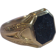 Antique 18K Bloodstone Intaglio Seal Ring