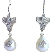 Art Deco Platinum , Diamond &  Cultured Pearl Earrings ...... One Carat Plus TDW