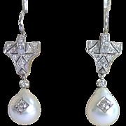 Art Deco Earrings ,Platinum , Cultured Pearls & Diamonds, 1CT Plus