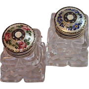 Sterling & Enamel Topped Salt & Pepper Shakers