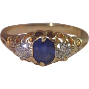 Antique Sapphire & Diamond Ring In 18CT