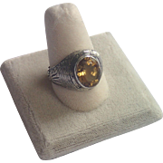Antique Sterling Ring With Natural Citrine ...... One Of A Kind !