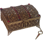 Vintage Brass Filigree Box With ' Jewels '