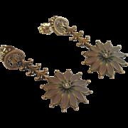 Vintage Earrings; 14K , Plique A Jour & Diamonds