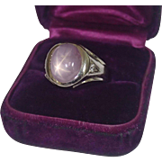 Lavender Star Sapphire & Diamond Ring , 14K White Gold , Mid 20th Century