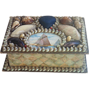 Sea Shell Jewelry / Sewing  Box , Early 20th Century
