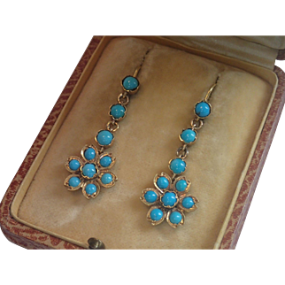 Antique Earrings, Persian Turquoise In 15-18 CT