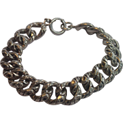 Sterling Link Bracelet , C. 1900 ,...... Large Scale,  39. Grams !