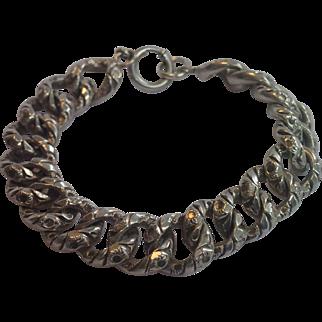Sterling Link Bracelet , C. 1900 ,...... Large Scale,  39. Grams !