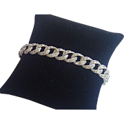 Vintage Sterling Link Bracelet With Rhinestones