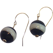Antique Banded Agate & 14K Earrings