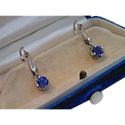 Edwardian Sapphire & Diamond Earrings In 14K White Gold