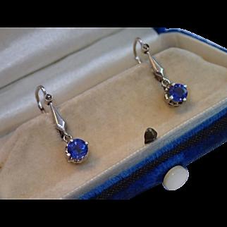 Edwardian Sapphire & Diamond Earrings In 14K White Gold