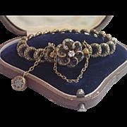 Victorian 14K Love-Knot Bracelet With Diamond & Enamel