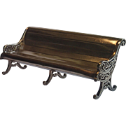 Miniature Park Bench Desk-Top Card Holder , Silver-Plate ' Hard White Metal '