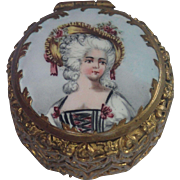 Antique French Patch Box With Hand Painted Enamel On Metal Portrait