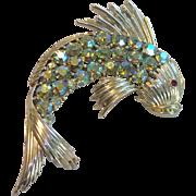 Signed Coro Aurora Borealis Fish Brooch