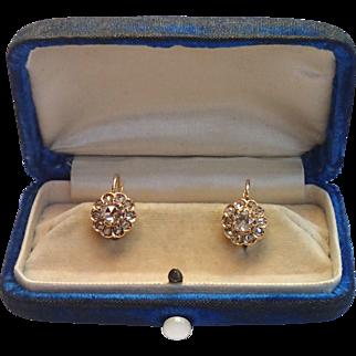 Antique Rose-Cut Diamond Earrings In 14k