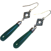 Art Deco Torpedo Drop Earrings ; Chrysoprase, Marcasite & Silver