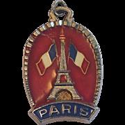 Vintage Paris Souvenir Medallion , Metal & Enamel