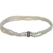 Cultured Pearl Collar With 10K & Natural Pearl Victorian Clasp