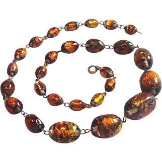 Vintage Gold Foil Murano Glass Beads