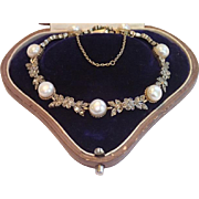 Antique Cultured Pearl & Rose-Cut Diamond Bracelet