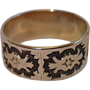 Victorian , 14K Rose Gold Etched Band Ring