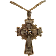 Victorian Cross Pendant / Brooch, 14K Rose Gold & Black Tracery Enamel