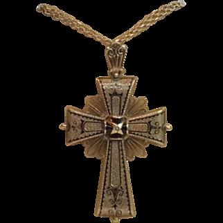 Victorian Cross Pendant / Brooch, 14K Rose Gold & Black Tracery Enamel
