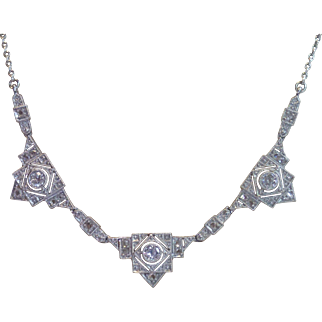 Art Deco Diamond Necklace In 18K White Gold, French C. 1920's