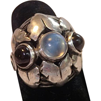 Arts & Crafts Sterling Silver Ring With Moonstone & Garnets