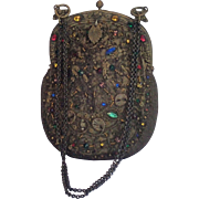 French Purse , 'Jeweled' With Beads & Metallic Thread, French , Circa 1880
