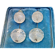 Art Deco Earrings , Carved Quartz Rock Crystal With Diamonds & 10K White Gold