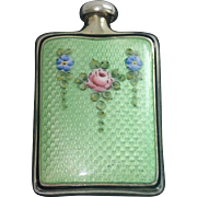 Vintage Sterling &  Guilloche Enamel Perfume Flask
