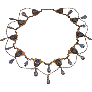 Art Nouveau Festoon Gold Fill & Glass Collar