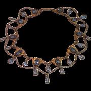 Art Nouveau Festoon Gold Fill & Glass Collar
