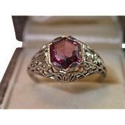 18K White Gold Filigree & Garnet Ring