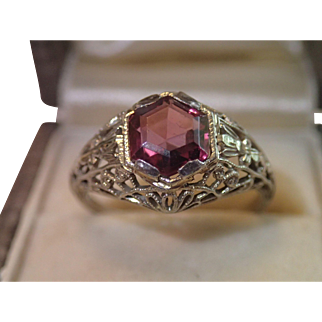 18K White Gold Filigree & Garnet Ring