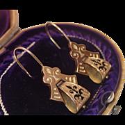 Victorian Earrings , 14K & Black Tracery Enamel