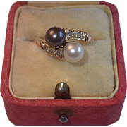 Vintage Ring,  14K Cultured Pearl & Diamond By-Pass